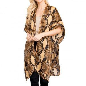 NEW Snakeskin Print Brown Kimono Cardigan